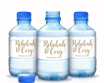 30 Wedding Water Bottle Labels Personalized Water Bottle Labels, Gold Wedding Labels, Wedding Welcome Bags, Calligraphy Label, Wedding Favor