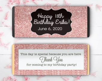 Rose Gold Birthday Large Hershey's Chocolate Wrappers - Birthday Chocolate Wrappers - Birthday Decor - Birthday Labels  (Set of 12)