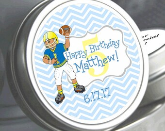 """12 Personalized Football Player Birthday Mint Tins - Need a different quantity? Click on the """"choose total"""" tab to see all pricing"""