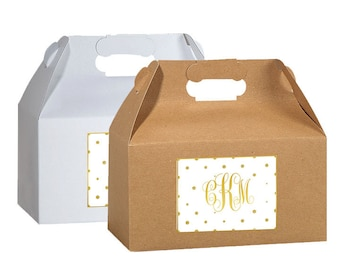 Personalized Dots and Monogram Welcome Box Labels -  Wedding Welcome Bag Labels - Wedding Favor Labels - Multiple Sizes Available