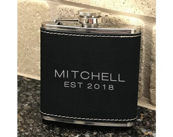 Personalized 6 oz. Black  Leatherette Stainless Steel Flask - Black Flask -  Gift Flask - Silver and Black - Name and Date