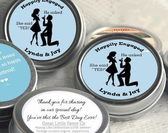 24 Engagement Party Decor -Wedding Favor Mint Tins -Engagement Mints - Pastel Blue - Engagement Announcements - Engagement Favors
