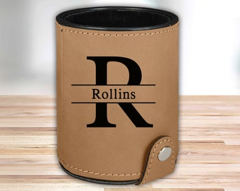 Personalized Leather Dice Cup | Tan |  Groomsmen Dice Cup | Groomsmen Gifts | Gifts for Dad  | Husband Gift | Gifts for Him
