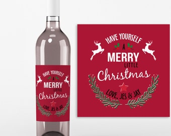 Christmas Wine Bottle Label - 4 Christmas Wine Labels - Have Yourself a Merry Little Christmas Crimson Red Label, Christmas Gift Tags
