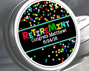 12 Retirement Mint Tins -  - RetireMints - Polka Dots - Retirement Favors - Retirement Decor - Retirement Mints - Retired Mints