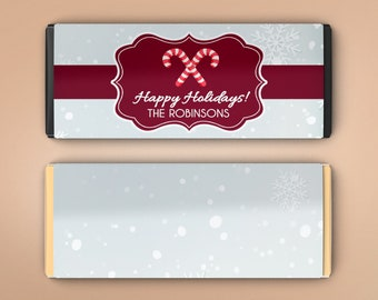 Large Personalized Christmas Chocolate Wrappers - Candy Bar Wrappers - Large Candy Wrappers - Snowflakes and Candy Canes (Set of 12)