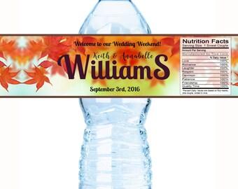 20 Wedding Water Bottle Labels - Fall Leaves Water Bottle Labels - Wedding Decor - Bottle Wraps - Personalized Wedding Favors - Fall Wedding
