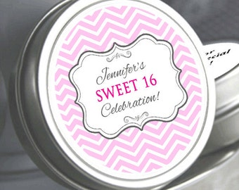 """Sweet 16 Pink Chevron Birthday Mint Tins 