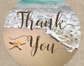 Glossy Round Sticker Label Tags - Beach Theme Wedding Favor & Gift Tags - Starfish - Birthday Decor - Wedding Decor - Sweet 16 Decor
