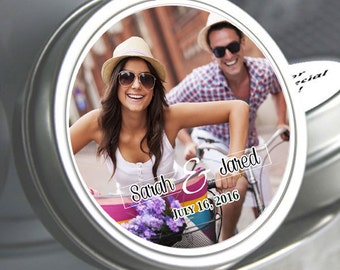 Personalized Color Coordinated Simply Photo Mint Tins - Wedding Photo Favors - Wedding Decor - Wedding Mints - Mint To Be