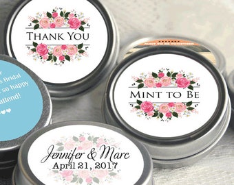 Mint to Be Wedding Favors - Personalized Wedding Mint Tins - Personalized Wedding Favors - Floral Pink - Thank You - Bridal Shower