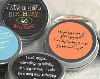 40th Birthday Mint Tin Party Favors - Birthday Party Supplies -Personalized Birthday Party Favors - Birthday Mints - Birthday Favor Ideas