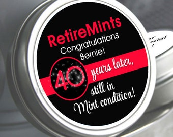 Retirement Mint Tins   Still in Mint Condition   Retire Mints   Retirement Favors   Retirement Party Decor