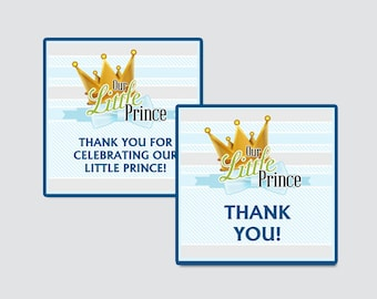 Our Little Prince Baby Shower Printable Favor Tag - Our Little Man Baby Shower Favor Tags - Thank You Tag, Little Prince Favor Tags