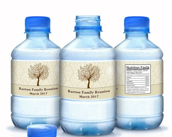 Family Reunion Water Bottle Labels- Family Reunion Favors - Damask - Family Tree - Custom Color