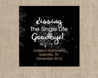Lip Balm Labels   Personalized Lip Balm Labels - Kiss the Single Life Goodbye labels  1 Sheet of 12 Lip Balm Labels - Custom Lip Balm Labels