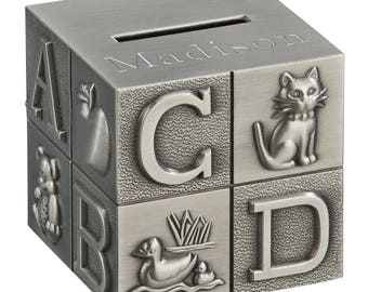 Personalized Alphabet Block Bank - ABC Block Bank - Child's Bank - ABC Bank - Coin Bank - New Baby Gift