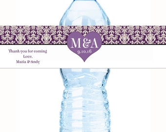 30 Wedding Water Bottle Labels - Wedding Decor - Personalized Wedding Favors - Damask Wedding - Hearts and Initials - Purple