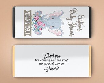 12 Large Personalized Hershey Candy Bar Wrappers - Baby Shower Favor  - Baby Shower Decor - Birthday Favor  - My Little Peanut Elephant Baby