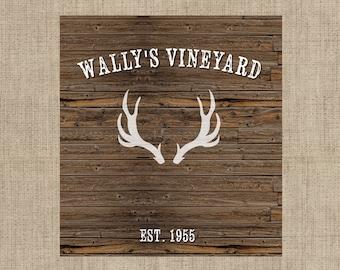 4 Wedding Wine Labels - Custom Wedding Wine Labels - Deer Antlers - Thank You  - Rustic Wine labels - Digital Download
