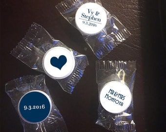 108 Lifesaver® Stickers - Lifesaver Stickers Wedding - Personalized Lifesaver Labels - Lifesaver Seals - Names & Date - Hearts - Your Color