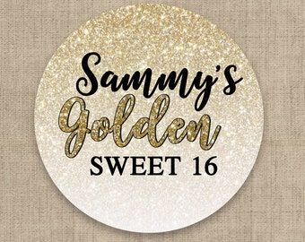 30 Glossy Round Labels - Sweet 16 Gold Glitter Favor Labels - Gold Glitter Stickers - Birthday Favors - Gold Glitter Favor Labels