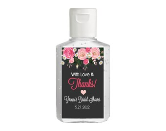 With Love and Thanks Pink Roses Hand Sanitizer Labels | Rectangular Labels for Purell Sanitizer Bottles