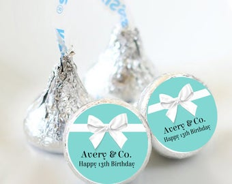 108 Birthday Hershey Kiss® Stickers - Birthday Hershey Kiss Stickers- Breakfast at Tiffanies Kiss Labels - Hershey Kiss Seals -  Ribbon