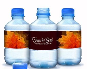 Fall Wedding Water Bottle Labels - Fall Wedding Decor - Wedding Favors - Wedding Bottle Wraps - Autumn Decor - Autumn Colors