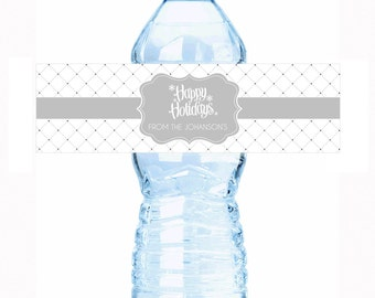 "20 Personalized Happy Holidays Water Bottle Labels - Select the quantity you need below in the ""Pricing & Quantity"" option tab"