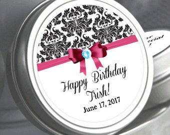 """12 Personalized Damask Ribbon Birthday Mint Tins - Need a different quantity? Click on the """"choose total"""" tab to see all pricing"""
