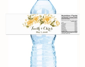 Wedding Water Bottle Labels, Yellow Flowers, Floral Bridal Shower Labels, Wedding Decor, Yellow Roses Bottle Labels, Yellow Flower Labels