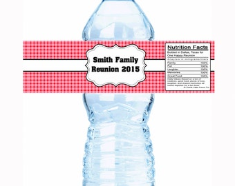 "20 Picnic Family Reunion Water Bottle Labels- Select the quantity you need below in the ""Pricing & Quantity"" option tab"