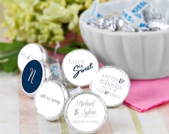 108 Hershey Kiss® Stickers - Love is Sweet - Monogram Kiss Seals - Candy Labels - Wedding Favors - Hershey® Kiss Seals  - Wedding Decor
