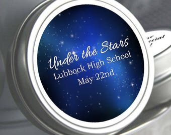 175 Personalized Prom Favors  -  Prom Decor - Prom Treats - Prom Candy - Prom Tin Mints - Prom Mint Tins - Stars - High School Dance Favors