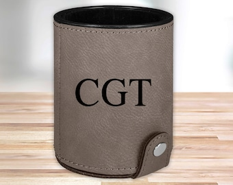 Personalized Leather Dice Cup | Gray |  Groomsmen Dice Cup | Groomsmen Gifts | Gifts for Dad  | Husband Gift | Gifts for Him
