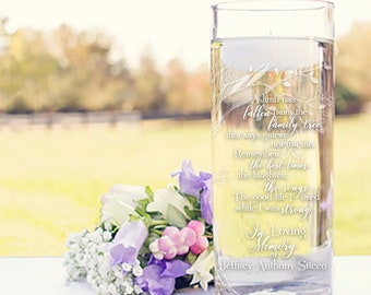 Grieve not for me Personalized Memorial Vase with Candle  - In Loving Memory Vase - Cylinder Vase with Memorial Poem