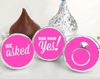108 Hershey Kiss® Stickers - He Asked She Said Yes Kiss Seals - Candy Labels - Wedding Favors - Hershey® Kiss Seals - Hot Pink