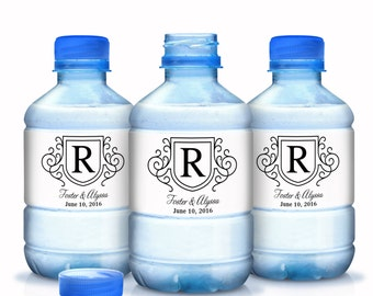 Monogram Wedding Water Bottle Labels - Wedding Decor - Wedding Favors - Wedding Labels - Bridal Shower Labels - Bottle Wraps