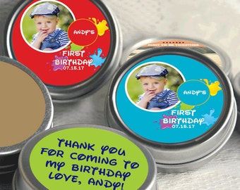 12 Birthday Candy Favors - First Birthday Party Sticker - Turning One - Candy Favors - Kids Birthday - 1st Birthday - First Birthday