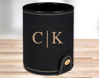 Personalized Leather Dice Cup | Black |  Groomsmen Dice Cup | Groomsmen Gifts | Gifts for Dad  | Husband Gift | Gifts for Him