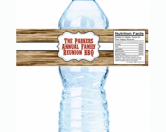 "20 Wood Pumpkin Family Reunion Water Bottle Labels- Select the quantity you need below in the ""Pricing & Quantity"" option tab"
