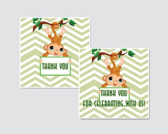 Born to Be Wild Let's Monkey Around Baby Shower Printable Favor Tag - Jungle Themed Baby Shower Favor Tags - Thank You Tag, Monkey