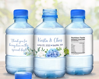 Hydrangea Wedding Bottle Labels, Waterproof Wedding Stickers, Blue Hydrangea Stickers, Waterproof Bottle Wraps, Bottled Water Labels