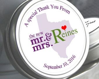 Wedding Decor  - Wedding Favor Mint Tins - Wedding Mints  - Personalized Wedding Favors - Mr & Mrs - Custom Mint Tins - Candy Mints