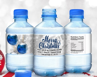 Christmas Water Bottle Labels - Christmas Decor - Blue Ornaments - Merry Christmas Snowflake Water Bottle Stickers