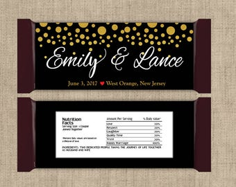 Gold and Black Wedding Favors, Candy Bar Wrappers, Fall Favors, Party Favors, Personalized Favors, Wedding Bridal Shower (Set of 12)