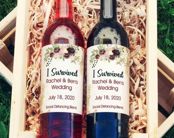 I Survived Wine Labels | Thank You Wedding Favor Gift  |  Wedding Wine Label  | Waterproof Wine Labels  | Social Distancing