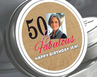 """12 - 50 and Fabulous Photo Birthday Mint Tins - Need a different quantity? Click on the """"choose total"""" tab to see all pricing"""