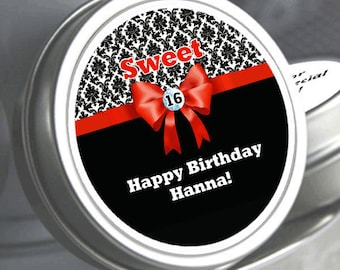 """12 Sweet 16  Damask  Birthday Mint Tin Favors   Select the quantity you need below in the """"Pricing & Quantity"""" option tab"""